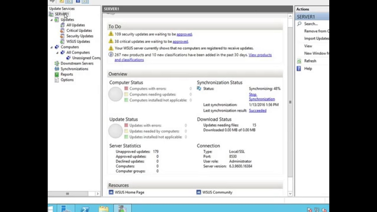 Setting up Windows Server Update Services (WSUS) on 2012 R2