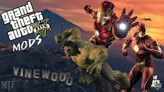 Grand Theft Auto V Fun with DC and Marvel Mods
