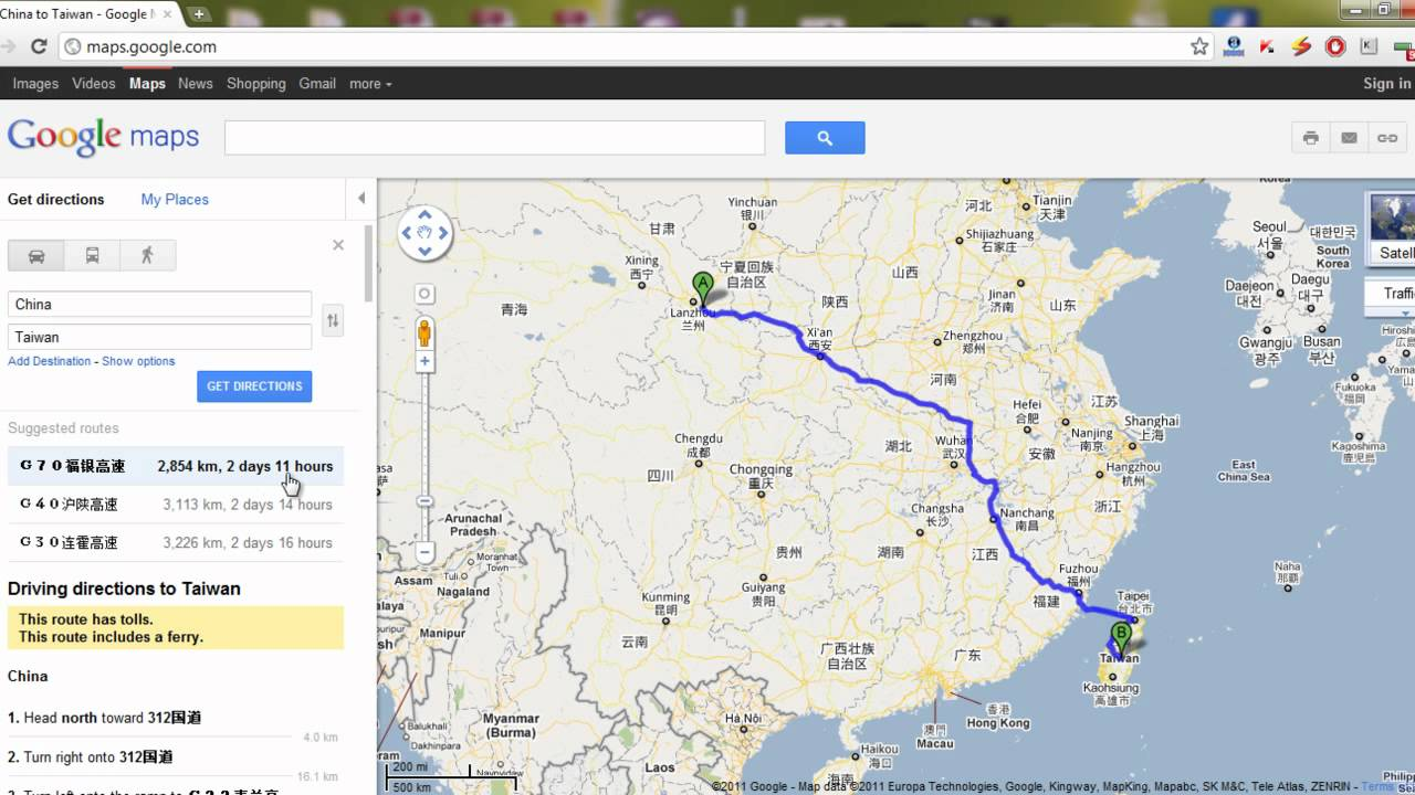Google Maps Easter Egg - China to Taiwan!