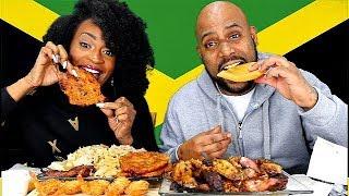 COOL RUNNINGS JAMAICAN GRILL MUKBANG! TRYING JAMAICA'S NATIONAL DISH!