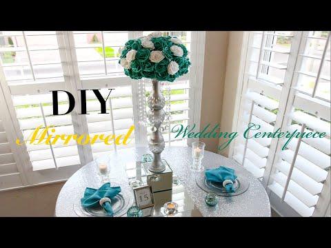 DIY Dollar Tree Tall Mirrored Crystal Glam Wedding Centerpiece | DIY Tutorial