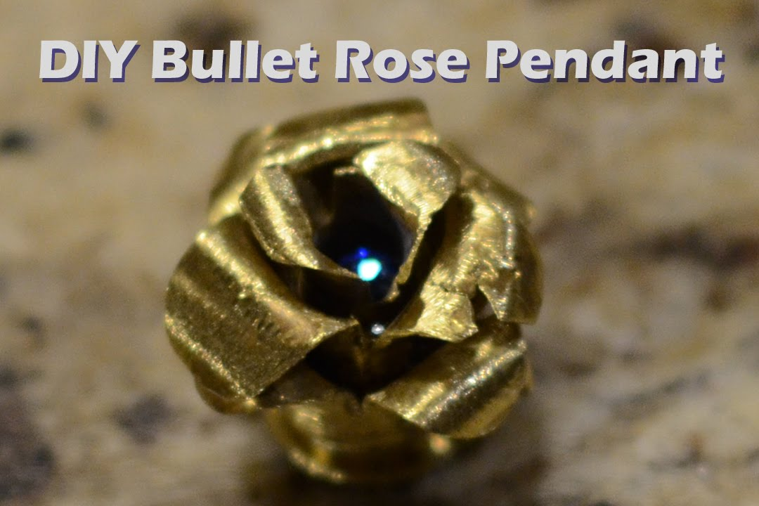 DIY Bullet Jewelry Brass Rose Necklace Pendant