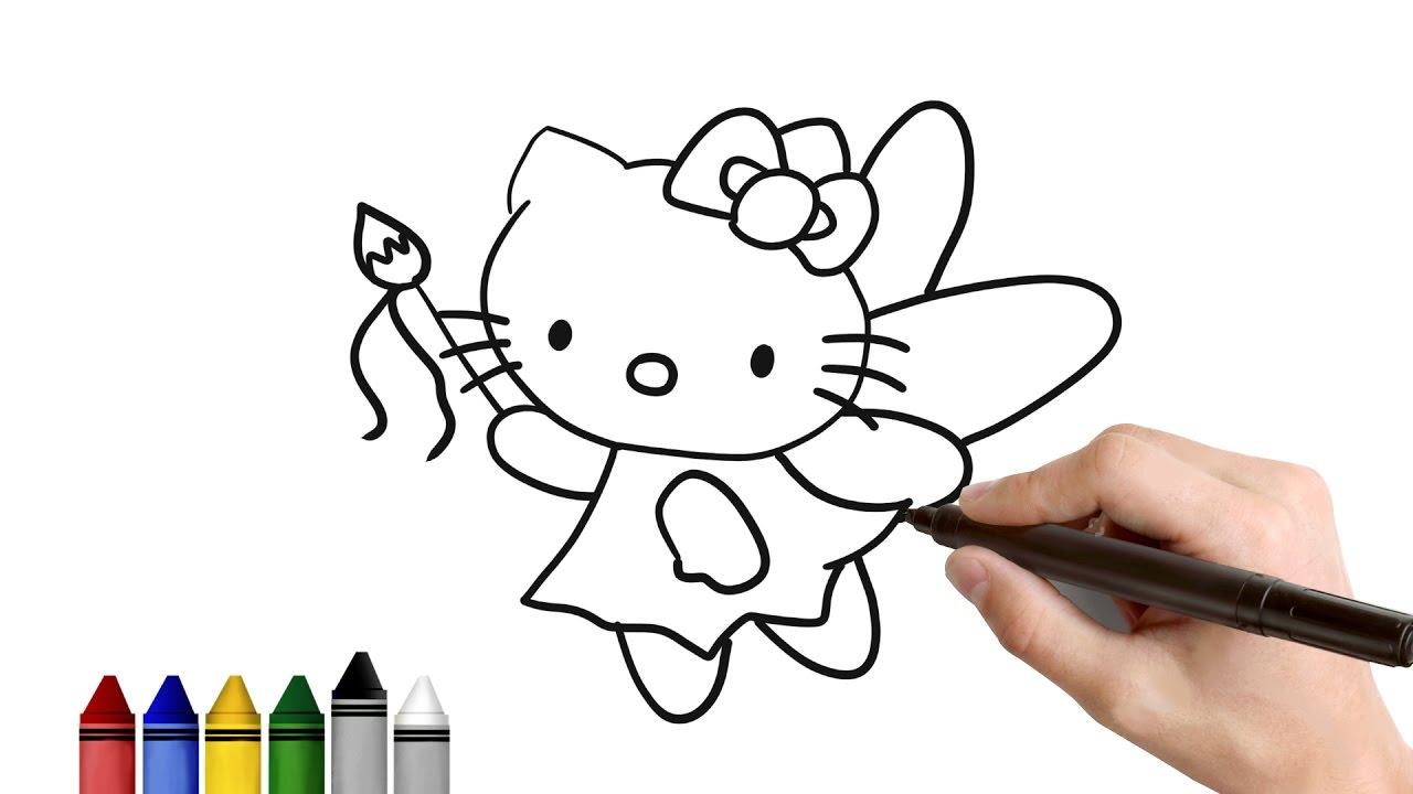 how to draw fairy hello kitty drawing for kids tutorial art