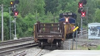 RARE!  Pan Am LA-3 with vintage B&M rail cars works hardly used siding in Atkinson, NH!