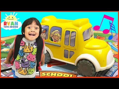 Thumbnail: The Wheels on the Bus go round and round song board games for kids Kinder Eggs