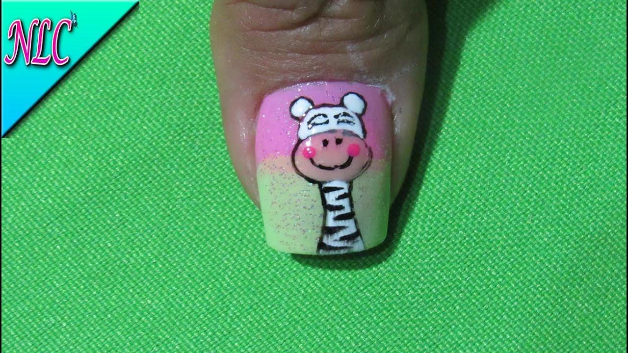 Decoraci n de u as cebra zebra nail art nlc youtube for Decoracion cebra