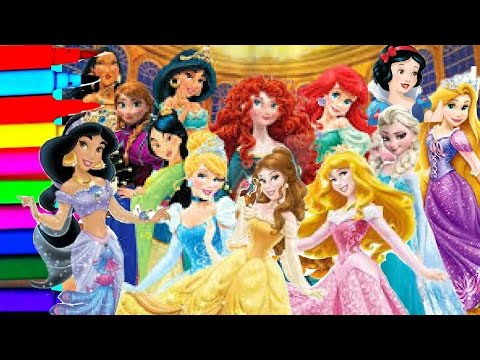 DISNEY PRINCESS Compilation Coloring Book Pages Kids Fun Art Learning Activities Videos For Kids