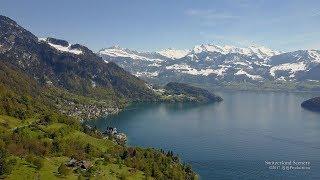 4K Vitznau Vierwaldstättersee Luzern SWITZERLAND アルプス山脈