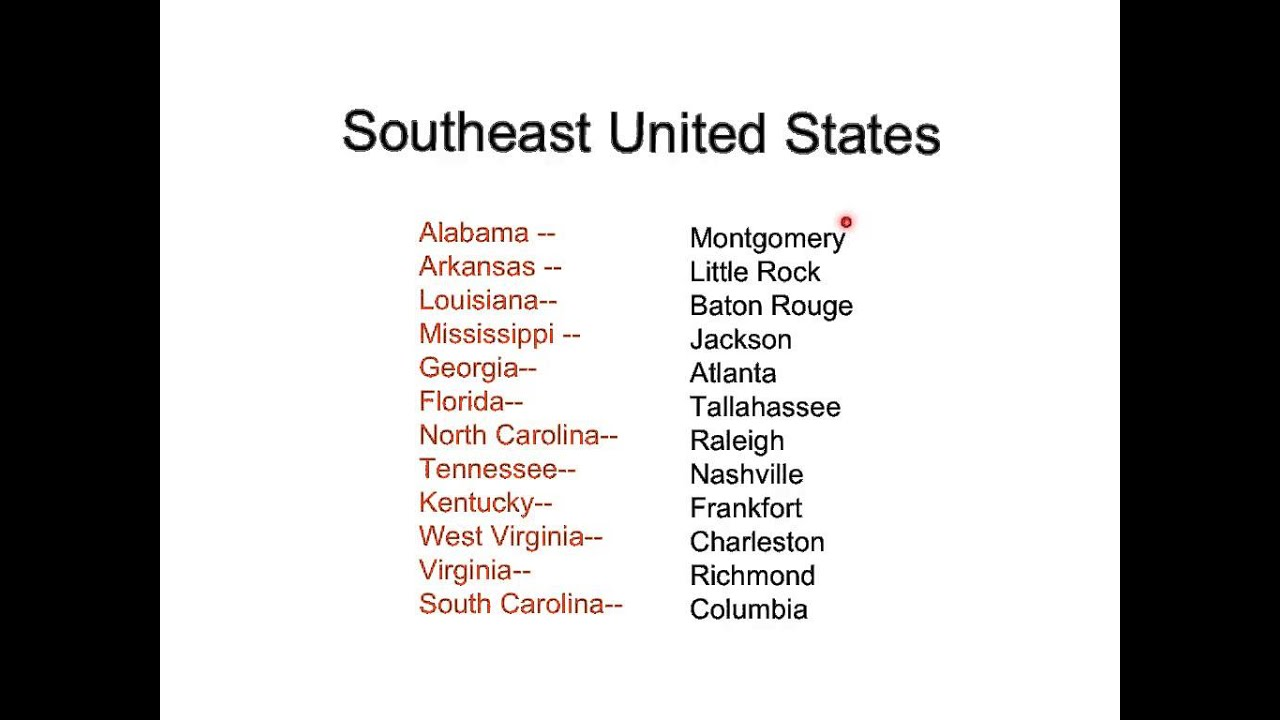 southeast region states and capitals image collections