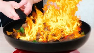 Говядина с овощами фламбе (полная версия)