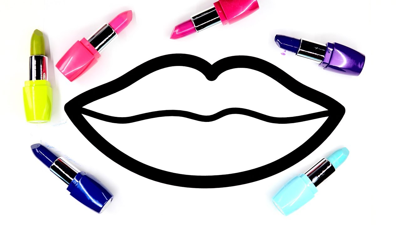 Colouring Lips Coloring Pages With Lipstick Colors Youtube