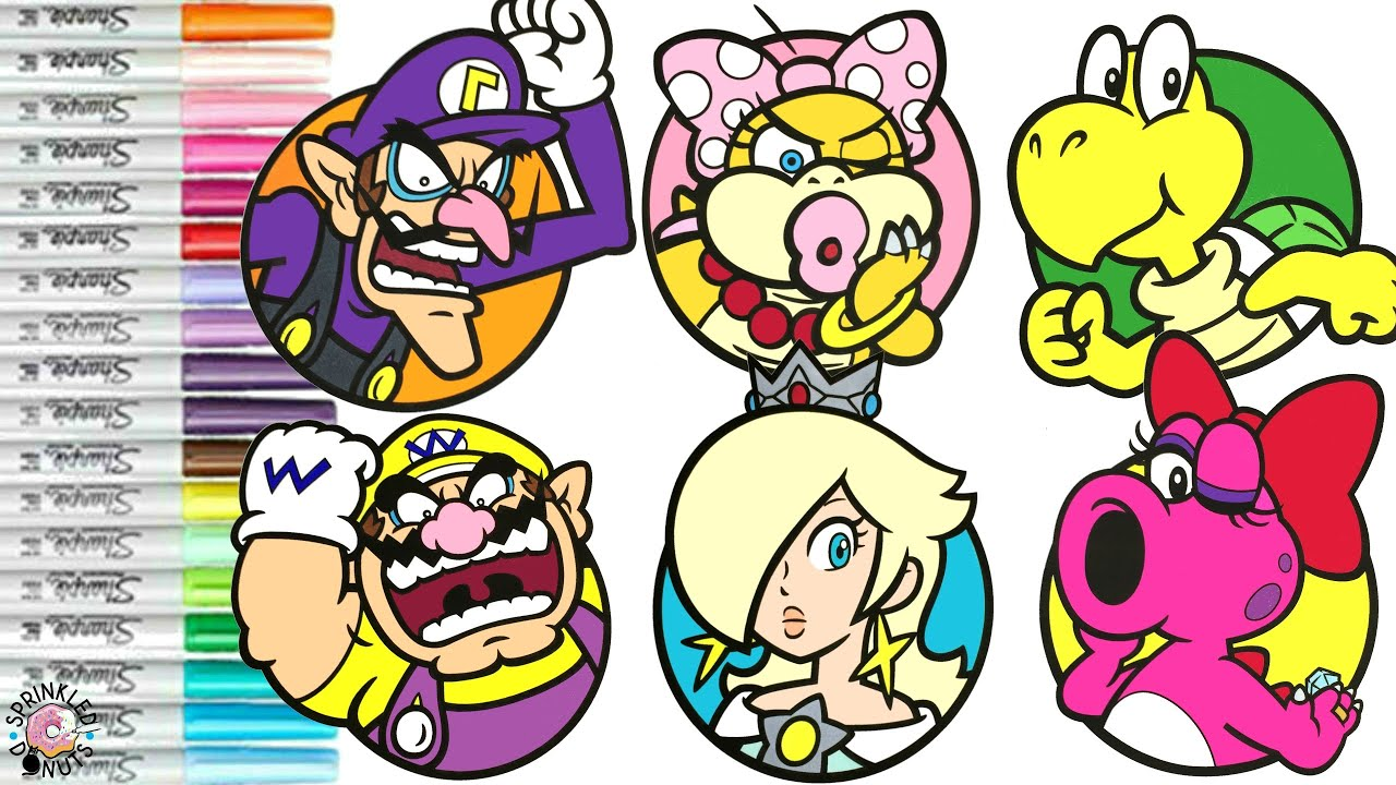Super Mario Bros Coloring Book Compilation Nintendo Wario Rosalina Birdo Wendy Koopa Waluigi Youtube
