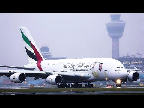 "A380 Emirates ""Year of Zayed 2018"" Blast off to Dubai. ""Real Aviation"" Inc, Atc"