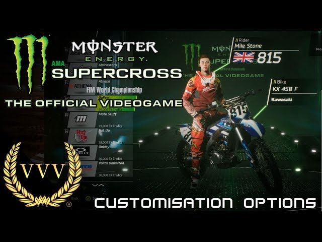 Monster Energy Supercross Customisation Options