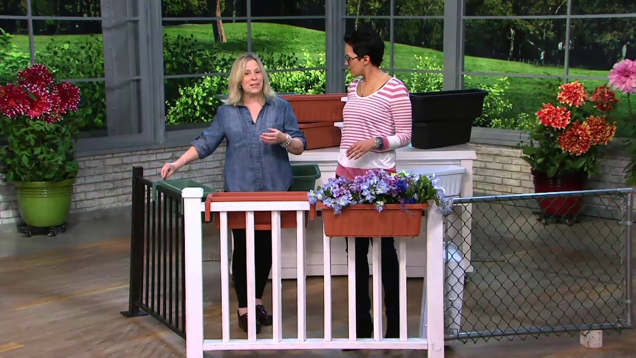 Set of 2 large adjustable deck railing planters on qvc youtube baanklon Images