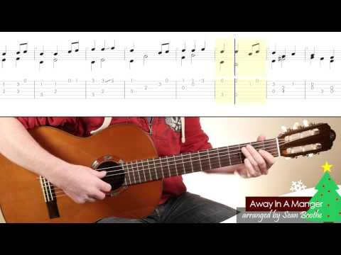 'Away In A Manger' - easy guitar arrangement with score and TAB