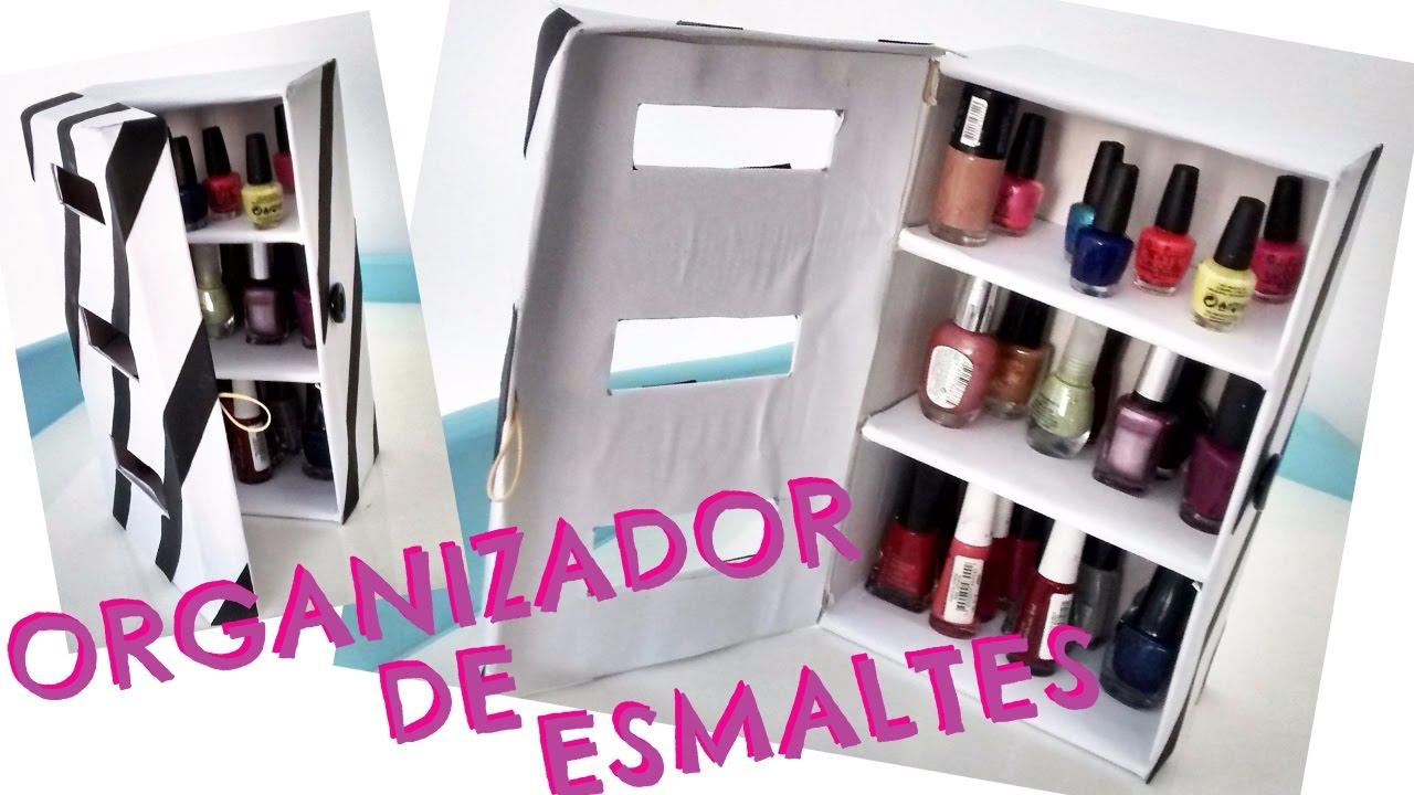 Organizador de esmaltes con caja de zapatos giany fashion youtube - Como hacer un organizador de zapatos casero ...