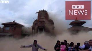 【BBC】 ネパール地震 寺院が崩れる様子を観光客が thumbnail