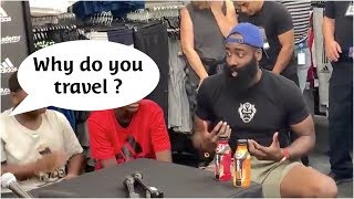 Kid calls out James Harden on his travel backstep !