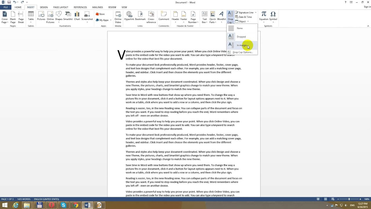 How to Add or Remove Drop Caps in Word 2013 (Large Letter) - YouTube