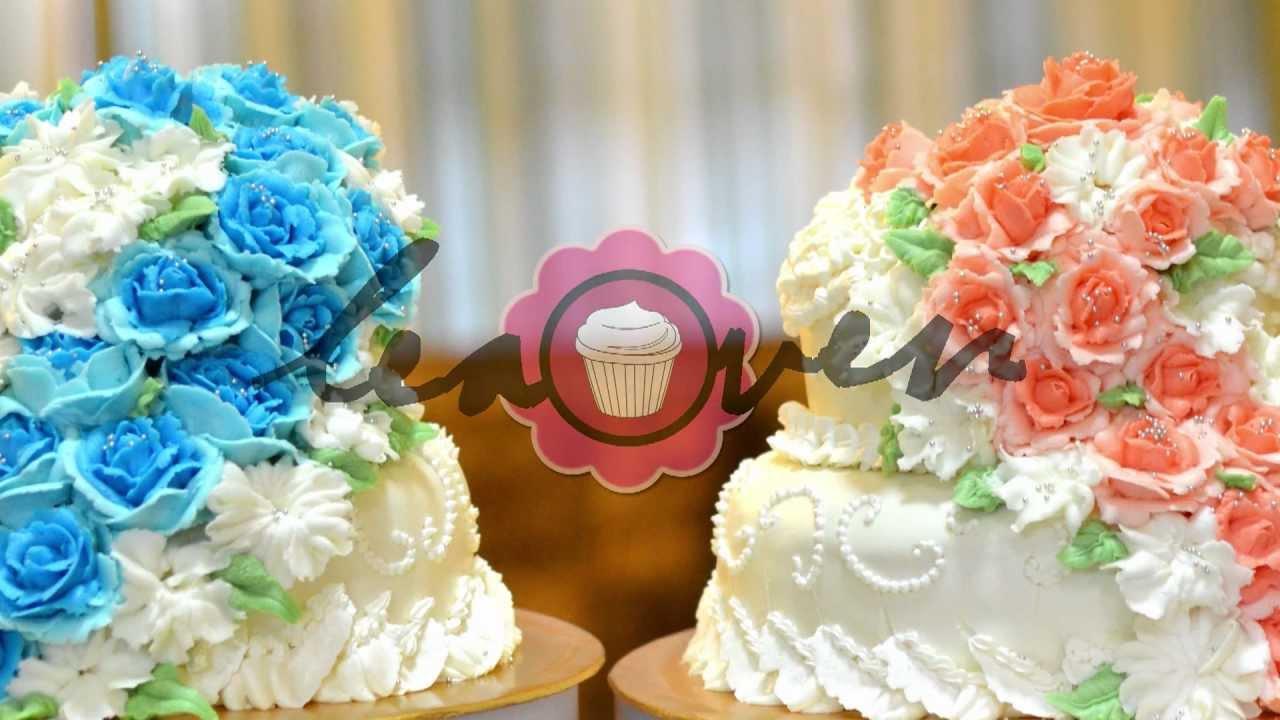 2 Tier Steam Buttercream Wedding Cake Deco with Cascading Flowers