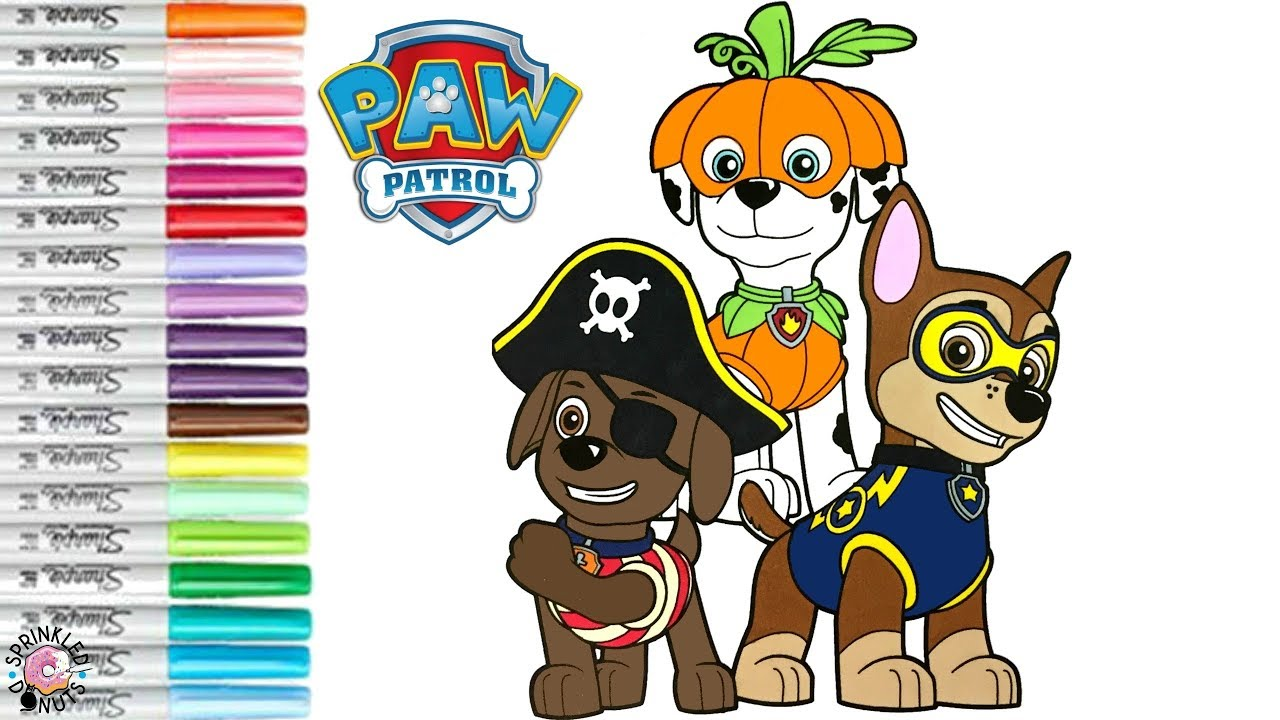 Paw Patrol Coloring Book Page Halloween Chase Marshall Zuma