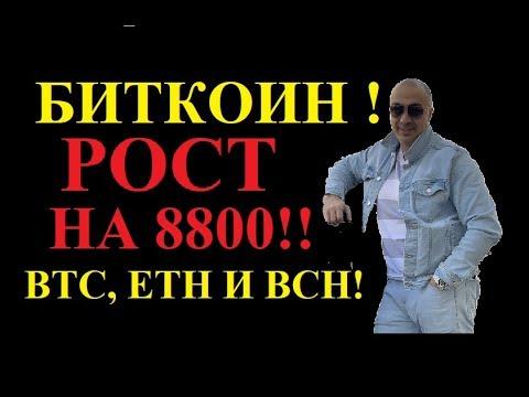 БИТКОИН! РОСТ НА 8800$ !!!