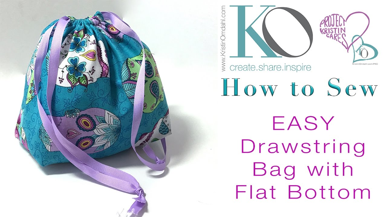 How to Sew an EASY Drawstring Bag with Flat Bottom FREE DIY Sewing ...