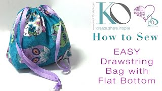 How to Sew an EASY Drawstring Bag with Flat Bottom FREE DIY Sewing Pattern