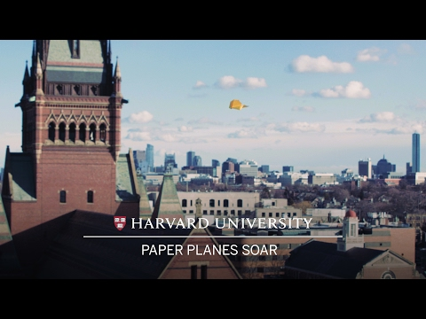 Paper planes by world record holder soar from Harvard's Science Center