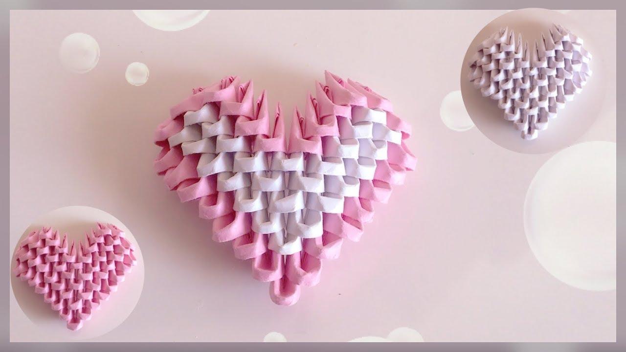 How To Make 3D Origami Heart / DIY / Origami Heart Tutorial | Priti Sharma