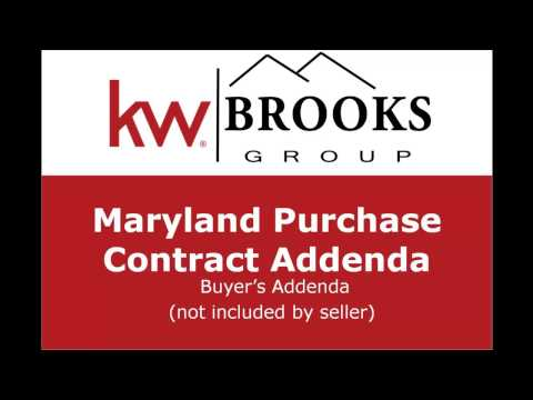 Maryland Purchase Contract Addenda - Real Estate Training