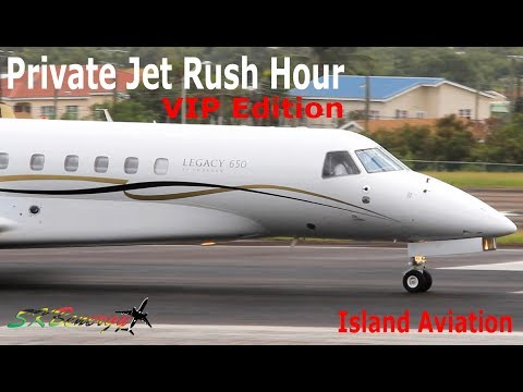 Private Jet Rush Hour !!! Gulfstream G650 G450 G200, Dassault Falcon 7X, Legacy 650....@ St. Kitts