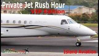 Private Jet Rush Hour !!! Gulfstream G650 G450 G200, Dassault Falcon 7X, Legacy 650....@ St. Kitts