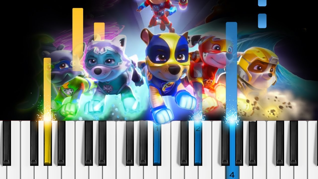 Paw Patrol The Mighty Pups Theme Song Easy Piano Tutorial