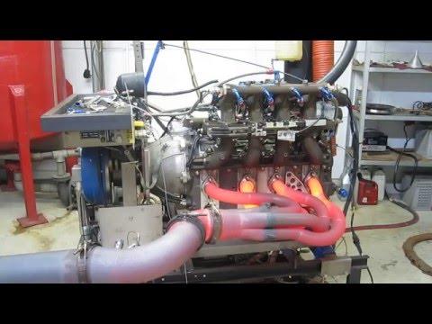 Mazda R26B 4 Rotor Engine Dyno - GLOWING HEADER!
