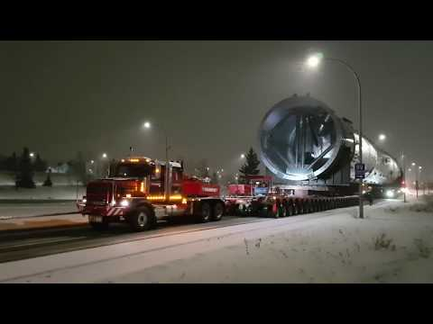 1,640,000 pound petrochemical splitter being transported in Edmonton, Alberta