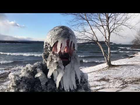 Surfing Lake Superior in sub zero winter