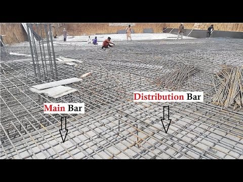 Location of main and distribution bars in raft foundation