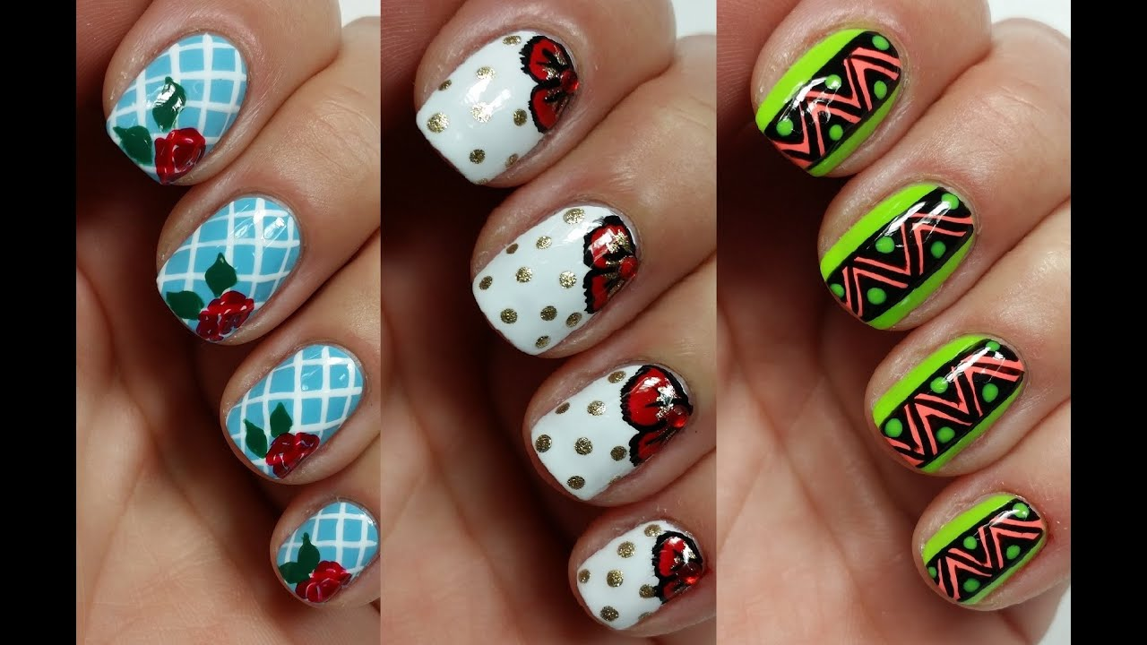 3 easy nail art designs for short nails freehand youtube prinsesfo Gallery