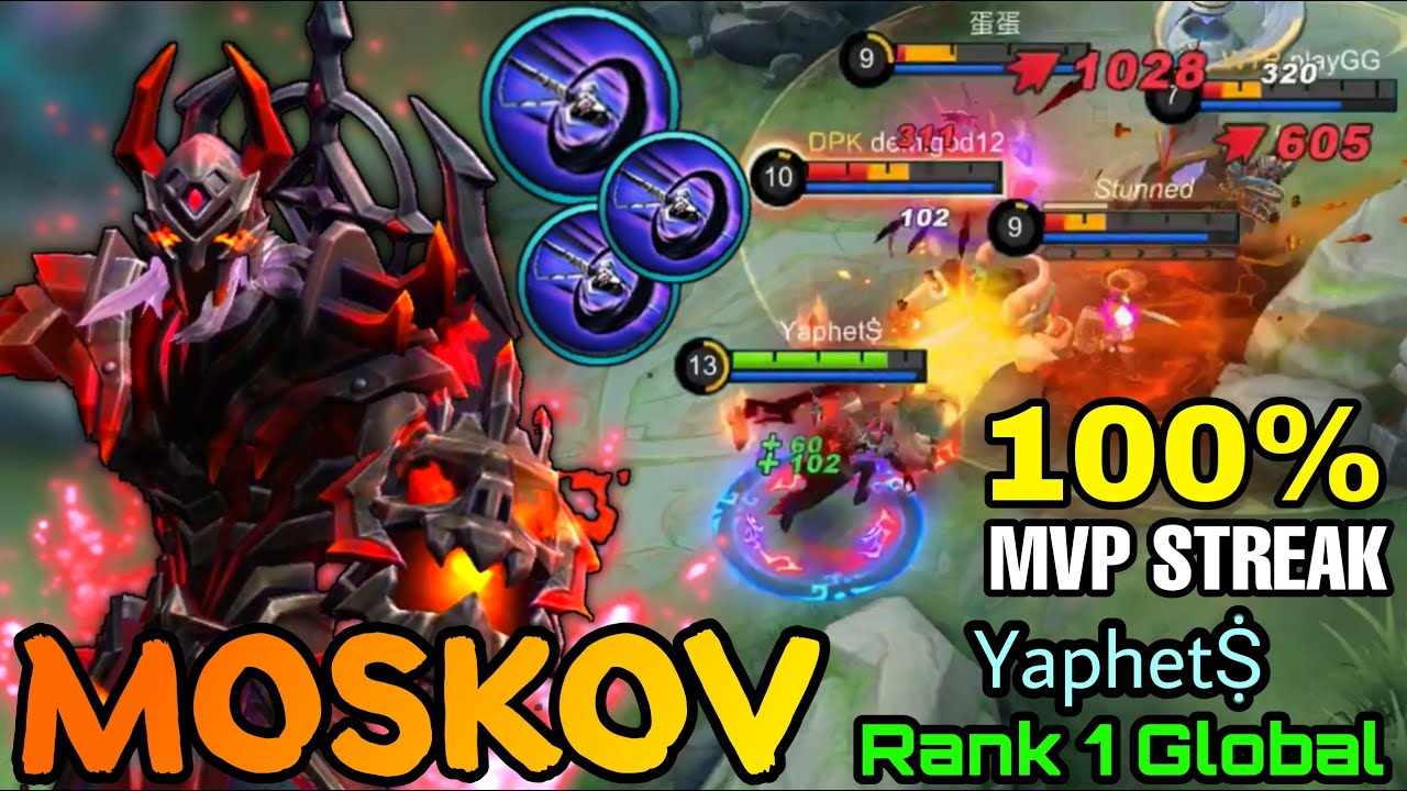 Insane Outplay Moskov Blood Spear 100% MVP Streak!! - Top 1 Global Moskov by YaphetṨ - MLBB