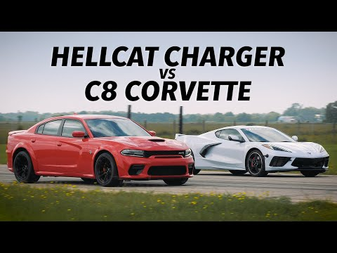 495 HP C8 Corvette vs 707 HP Hellcat Charger Widebody | Roll and Drag Race Comparison