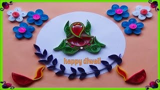 Paper Quilling  : How to make Beautiful God Ganesha Greeting card for Diwali festival -2016