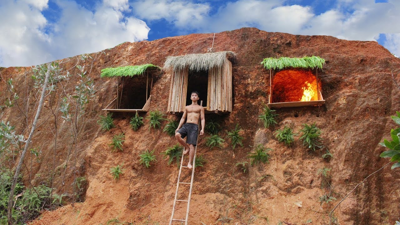 Build Undergroud Hut System On The Cliff To Avoid Wildlife