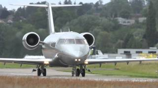 VistaJet Bombardier Challenger 605 OE-IND Take Off at Airport Bern-Belp