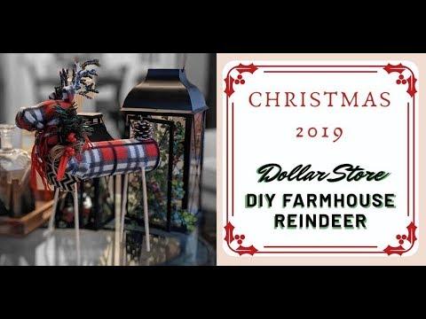 NEW 2019 Christmas Farmhouse Reindeer DIY - Dollar Tree How-to