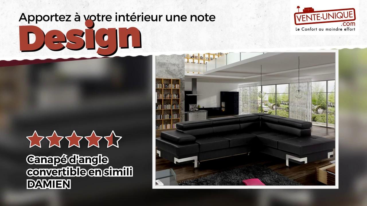 Canapé d\'angle convertible DAMIEN en simili - YouTube