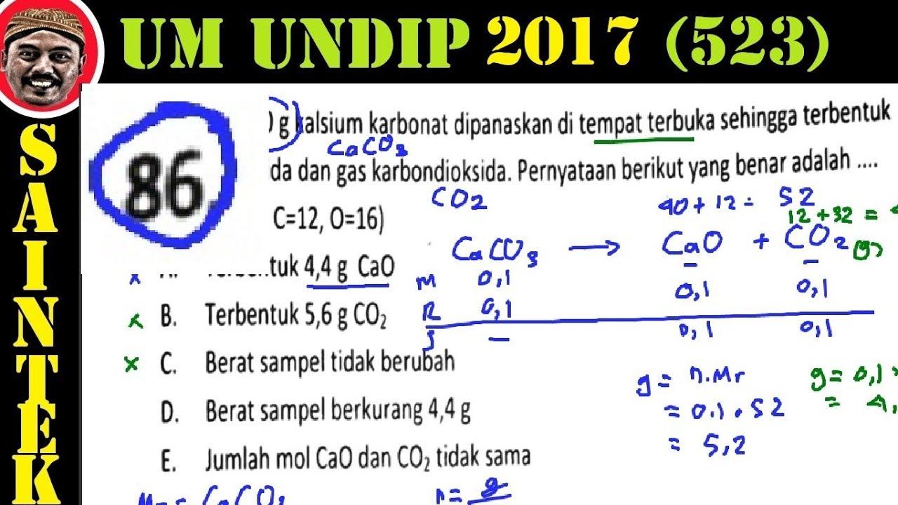 Pembahasan Soal Um UNDIP 2017 Saintek Kode 532, Kimia , No