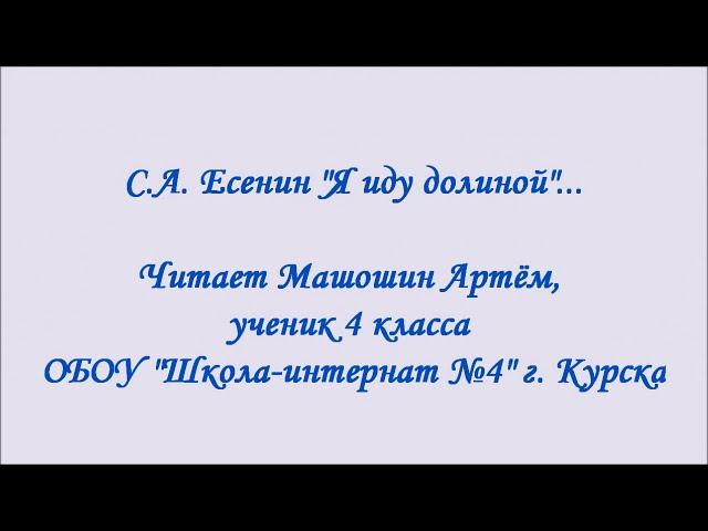 Изображение предпросмотра прочтения – АртёмМашошин читает произведение «Я иду долиной. На затылке кепи…» С.А.Есенина