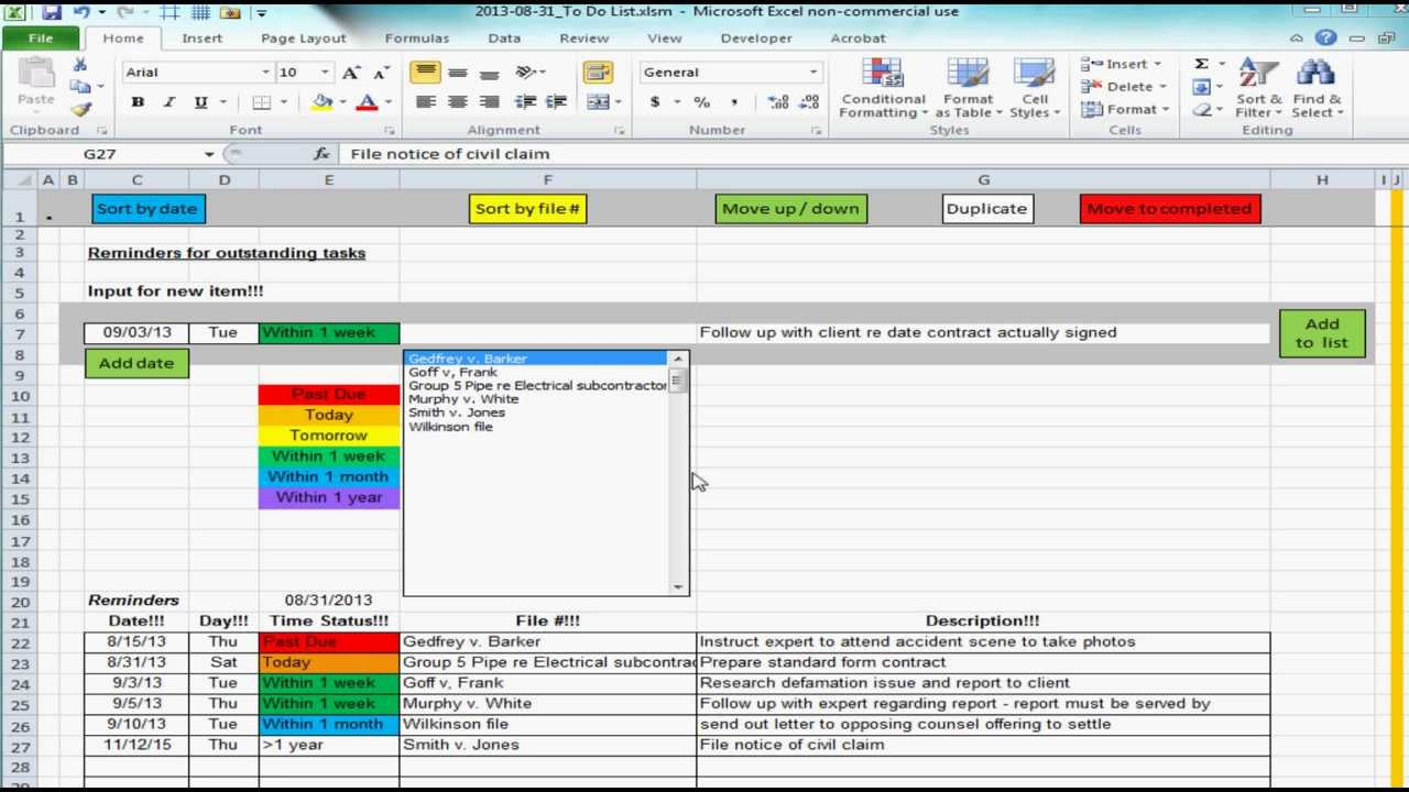 Excel spreadsheet providing list of reminders / future tasks / to-do ...